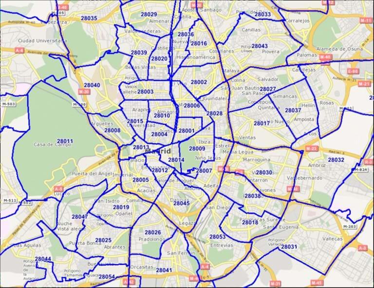 Mapa Codigos Postales Madrid.Geodan Mapa De Codigos Postales De Espana